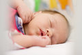 Newborn baby sleeping peaceful three days old Royalty Free Stock Photo