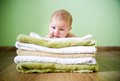 image photo : Newborn baby on a towels