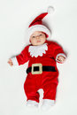 Newborn baby weraing Santa Claus costume Royalty Free Stock Image