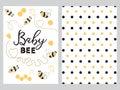 NewBorn banner design text Baby bee decorated bee heart honey sweet Plka Dot background set
