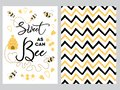 NewBorn banner design text Sweet as can Bee decorated bee heart honey sweet Zig Zag yellow black background set