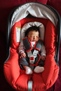Newborn in car safety seat Royalty Free Stock Photo
