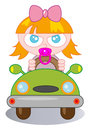 Newborn cartoon illustration of a in car Stock Images