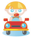 Newborn cartoon illustration of a in car Stock Photo