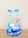 Newborn decoration blue present on the table Royalty Free Stock Photo