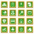 Newborn icons set green