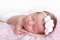 Newborn infant sleeping Stock Photo
