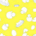 Newborn little birds with eggs on yellow background. Seamless