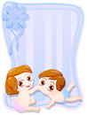 Newborn male and female twins Royalty Free Stock Images