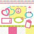 Newborn scrapbook set of design elements for Royalty Free Stock Photo