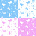 Newborn Seamless Patterns Royalty Free Stock Images