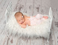 Newborn sleeping baby holding toy on cute little bed