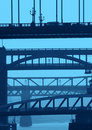 Newcastle bridges in blue Royalty Free Stock Images