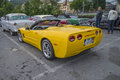 Newer car chevrolet corvette convertible the image is shot at a fish market in halden norway where there every wednesday during Royalty Free Stock Photo