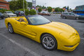 Newer car chevrolet corvette convertible the image is shot at a fish market in halden norway where there every wednesday during Stock Photos