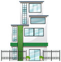 A newly built tall building illustration of on white background Stock Images