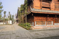Newly built timber framed buildings in small town,China Royalty Free Stock Photo