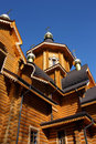 Newly built wooden orthodox church fragment of a with carved windows voeikovo village leningrad region russia Royalty Free Stock Photography