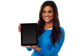 Newly launched tablet device in the market saleswoman presenting for sale Royalty Free Stock Image