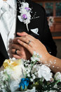 Newly married bride and groom hands with rings Royalty Free Stock Photo