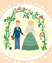 The newly married couple in garden Stock Photography