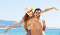 Newly married couple having homeymoon attractive at tropical beach Royalty Free Stock Photos