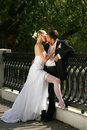 Newly Married Couple Kissing Stock Photography