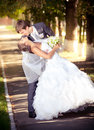 Newly married romantic couple kissing at park sunny day Royalty Free Stock Images