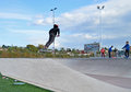 Newly opened skate park the in elche spain prove very popular with a good turn out on the first day Stock Images