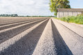 Newly seeded potatoes in ridges of clay ground large field with and an old barn the background on a sunny day spingtime Royalty Free Stock Image