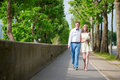 Newly wed couple walking in paris together Stock Image