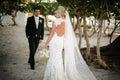 Newly wedd a couple on a beach Stock Image