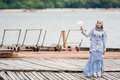 Newly wedded bride posing malay in an outdoor portraiture Royalty Free Stock Images