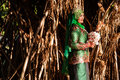 Newly wedded bride posing malay in an outdoor portraiture Royalty Free Stock Image