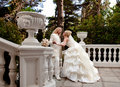 Newly wedded couple in the park Stock Image