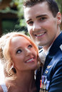 Newlywed couple a enjoy their wedding day in the united states Stock Photos