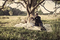 Newlywed couple in field sat under tree countryside Royalty Free Stock Photo