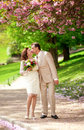 Newlywed couple kissing in park at spring beautiful Royalty Free Stock Images