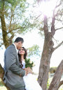 Newlywed couple lean back on tree in sunny day portrait of romantic Stock Photos