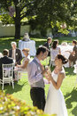 Newlywed couple toasting champagne among wedding guests side view of young while sitting in garden Stock Photography