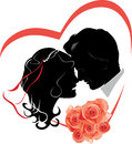 Newlyweds with bouquet of roses. Wedding icon Stock Photo