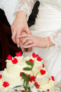 Newlyweds is cutting a wedding cake Stock Photography