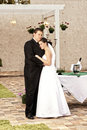 Newlyweds embracing Stock Images