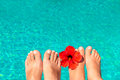 Newlyweds feet by the pool with flower macro picture Royalty Free Stock Image