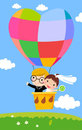 Newlyweds in a Hot Air Balloon Royalty Free Stock Photo