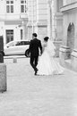 Newlyweds Leaving The Town Squ...