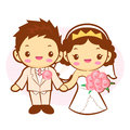 The Newlyweds Mascot wedding. Home and Family Character Design S Royalty Free Stock Photo