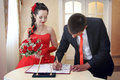 Newlyweds registration Royalty Free Stock Photo