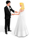 Newlyweds in their wedding clothes stand and hold each other s hands Royalty Free Stock Photography