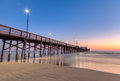 Newport Beach pier at sunset time Royalty Free Stock Photo